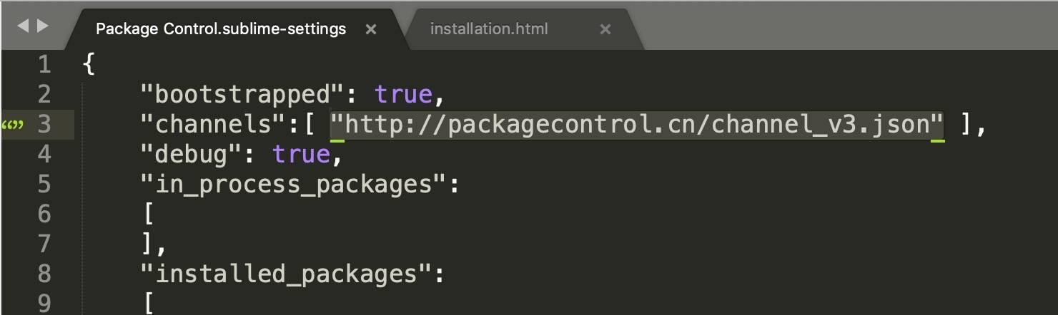 sublime text3 插件安装国内镜像